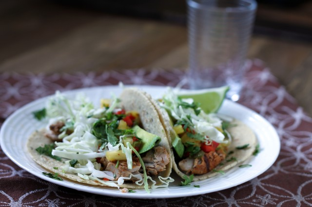 Sweet and spicy fish tacos
