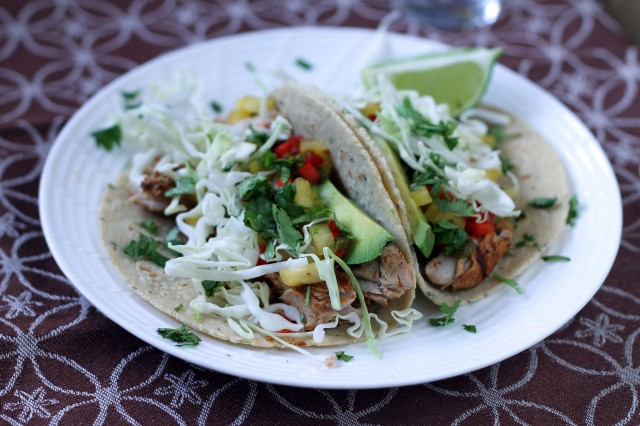 Fish tacos with sweet and spicy marinade as well as pineapple/red pepper/jalapeno salsa